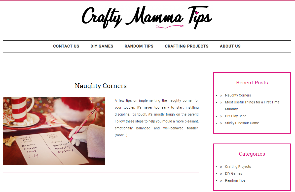 Portfolio picture for Crafty Mamma Tips blog, a snippet of one of their posts.